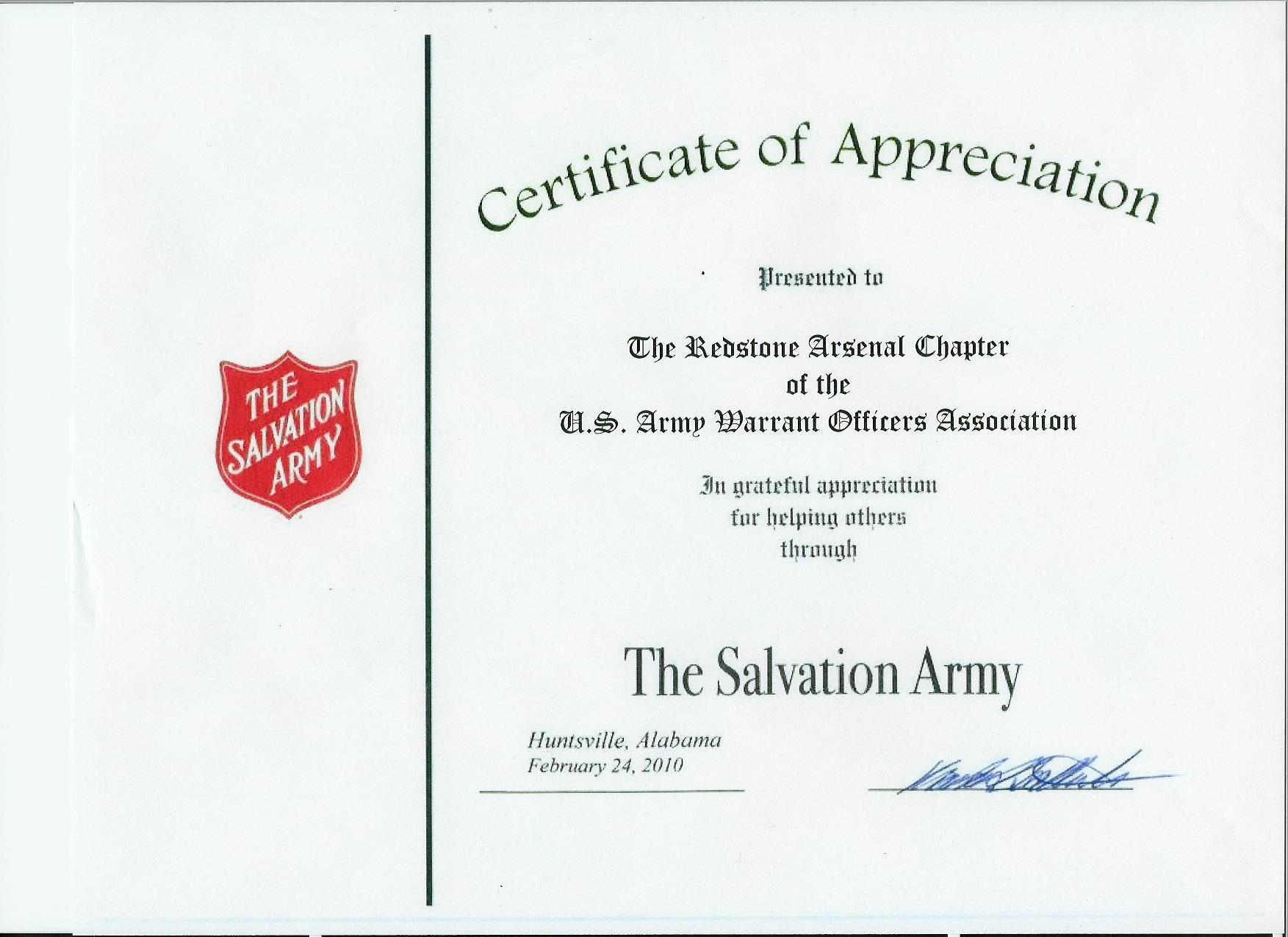 29a-02242010 Salvation Army Certificate