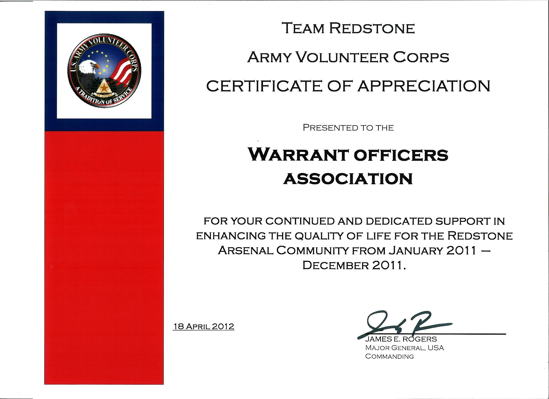 35-2011 USAWOA Community Affairs Certificate