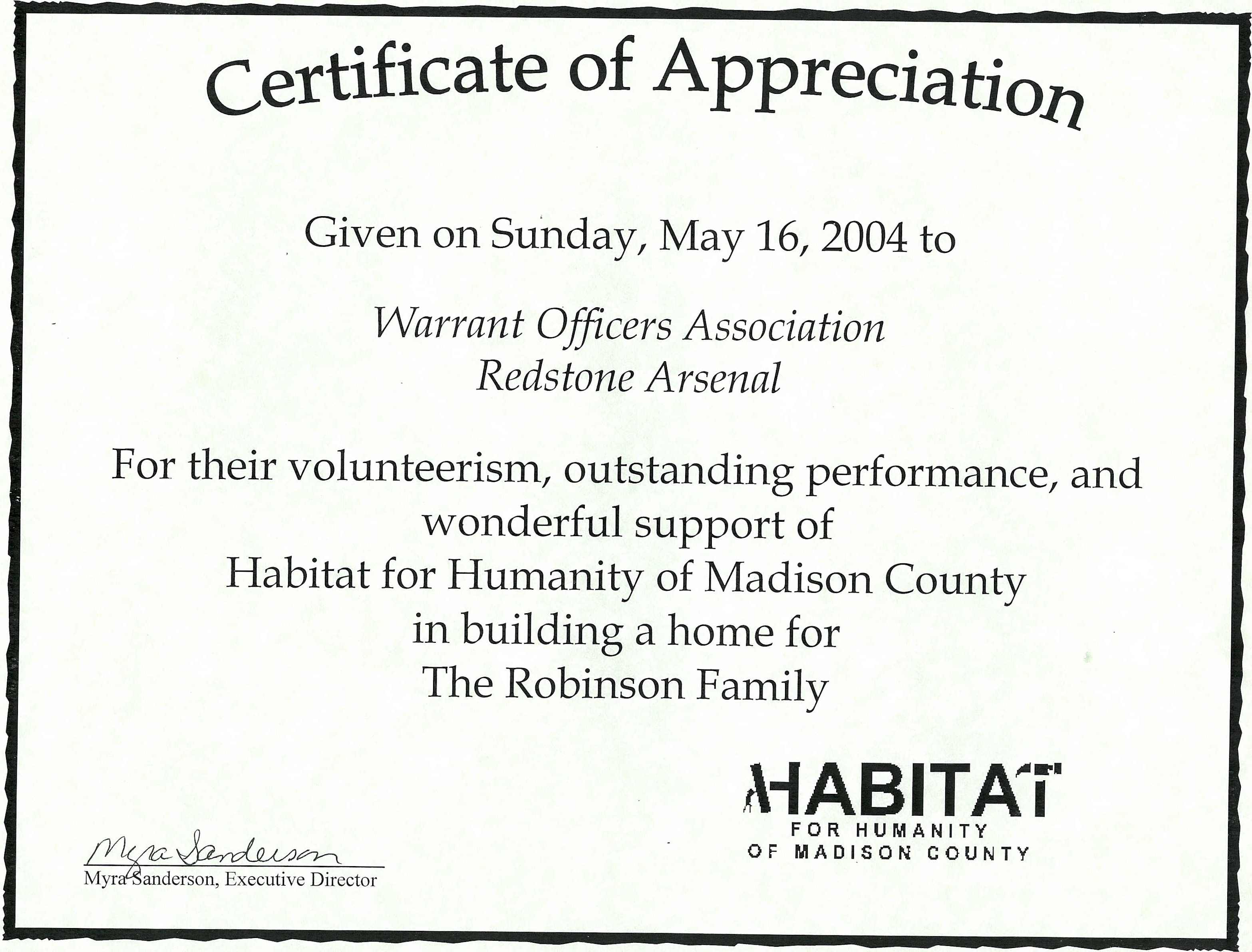 01-05162004 - Madison Habitat Certificate