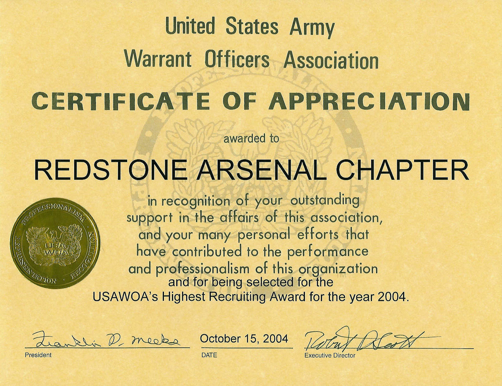 06-10152004 - Highest Recruiting Award-2004